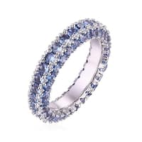 White Gold & Italian-Cut Spinel 3 Row Eternity Ring - Blue