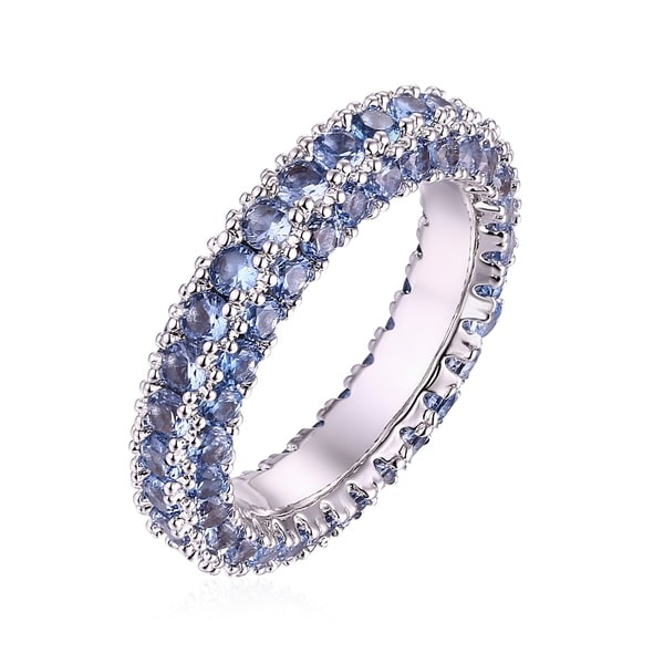 White Gold & Italian-Cut Spinel 3 Row Eternity Ring - Blue. Opens flyout.