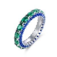 Lab-Created Green and Blue Quartz Cubic Zirconia Ring