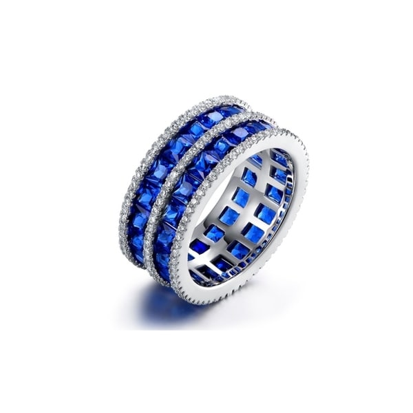 White Rhodium Plated 5-Row Sapphire Wide Band Ring. Opens flyout.