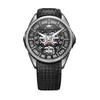 Milus Men's Tirion Tri-Retrograde' Black Skeleton Dial Black Carbon Fiber Strap Titanium Swiss Mechanical Watch