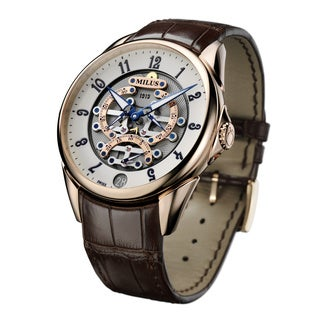 Milus Men's TIRI600 'Tirion Tri-Retrograde' White Dial Brown Leather Strap Swiss Mechanical Watch