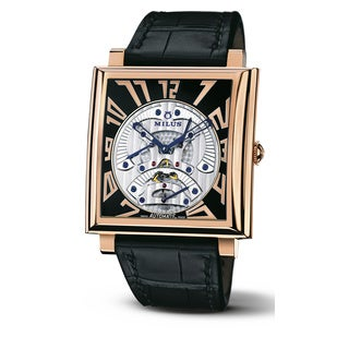 Milus Men's HERT400 'Herios Tri-Retrograde' Black Skeleton Dial Black Leather Strap Rose Gold Swiss Mechanical Watch