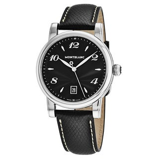 Mont Blanc Men's 108763 'Star' Black Dial Black Leather Strap Swiss Quartz Watch