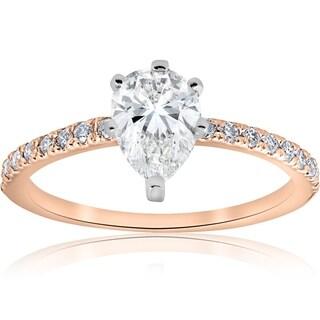 Bliss 14k Rose Gold 1 1/10 ct TDW Pear Shape Diamond Engagement Ring - White