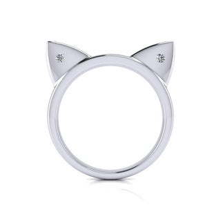 Diamond Accent Cat Ears Ring In Sterling Silver - White J-K (More options available)