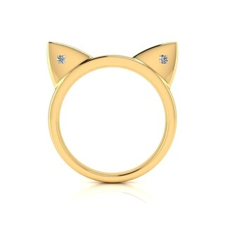 Diamond Accent Cat Ears Ring In Yellow Gold Over Sterling Silver - White J-K (More options available)