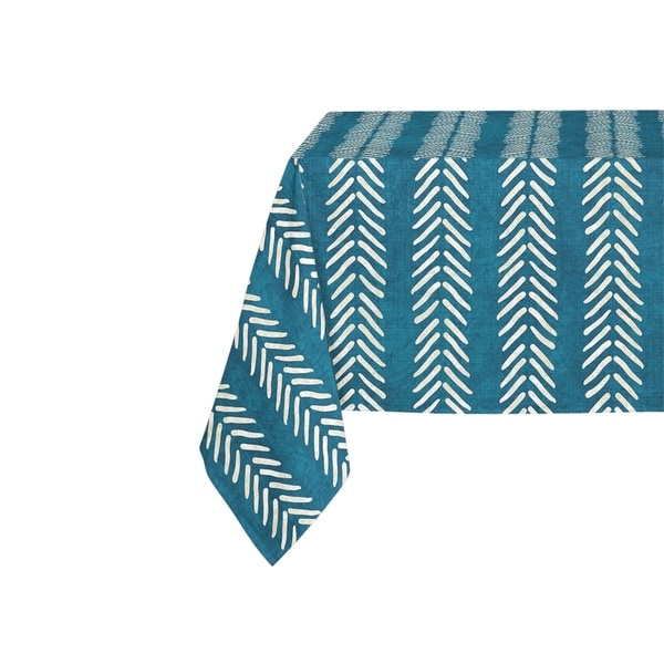 Kavka Designs Teal Willow Table Cloth By Becky Bailey - 70 x 90 inches