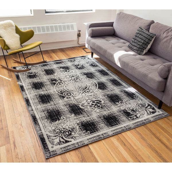 Well Woven Joli Medallion Grey Traditional Plaid Area Rug - 9'3 x 12'6
