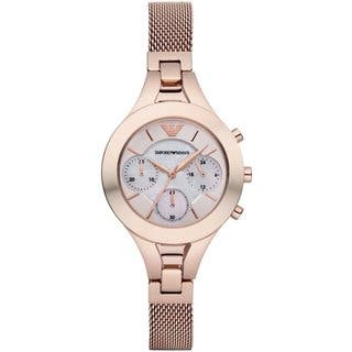 Emporio Armani Women's AR7391 Mother of Pearl Chronograph Rose Gold-tone Mesh Watch|https://ak1.ostkcdn.com/images/products/18515032/P24625222.jpg?impolicy=medium