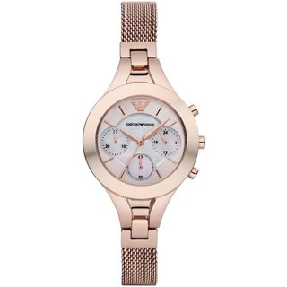 Emporio Armani Women's AR7391 Mother of Pearl Chronograph Rose Gold-tone Mesh Watch