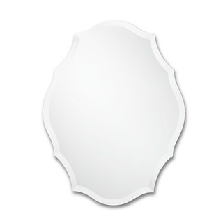 Frameless Oval Mirror with Scalloped Edges