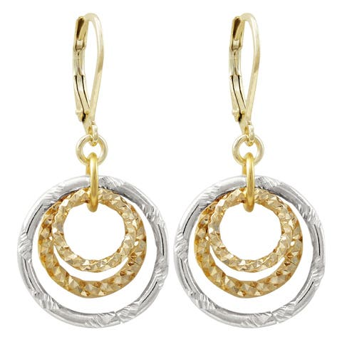 Luxiro Gold Finish Dangling Open Circles Earring