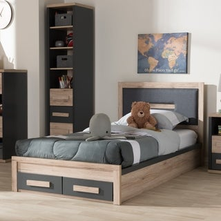 Contemporary Grey and Brown Twin Size Storage Bed by Baxton Studio