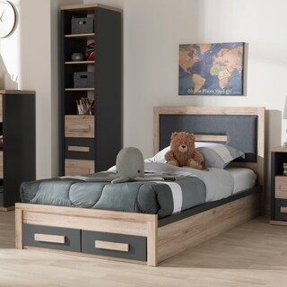 baxton studio greybrown wood twinsize storage bed