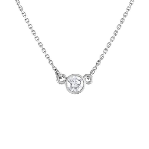 4f8e0f42200a6 14K White Gold 1/4ct TDW Bezel Set Diamod Pendant Necklace (H-I, I1-I2)