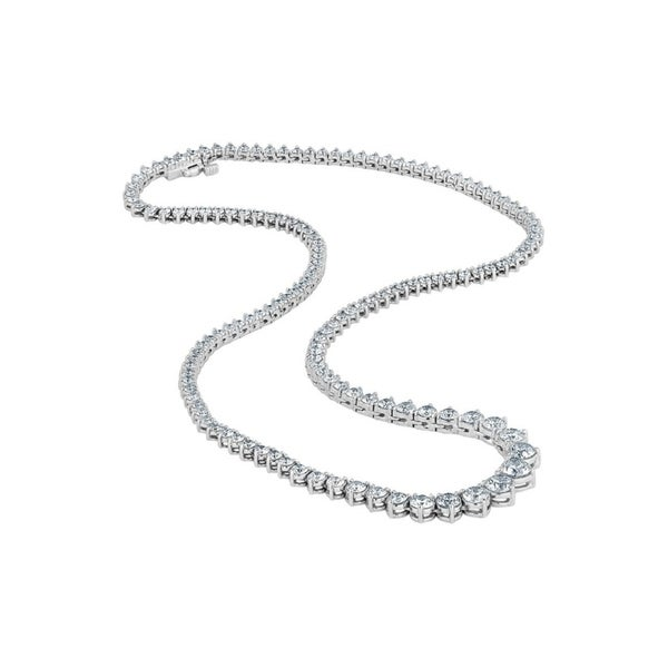 faf36b8cc3be3 Shop 14K White Gold 10Ct TDW Diamond Riviera Tennis Necklace (H-I ...