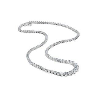 14K White Gold 10Ct TDW Diamond Riviera Tennis Necklace (H-I, I1-I2)