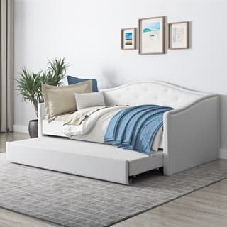 CorLiving Fairfield White/Grey Faux Leather/Wood/Polyester Twin/Single Day Bed With Trundle|https://ak1.ostkcdn.com/images/products/18515216/P24625385.jpg?impolicy=medium