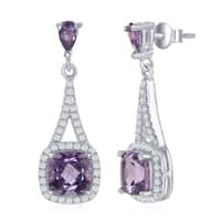La Preciosa Sterling Silver High Polish Prong-Set Square Amethyst or Pink Sapphire w/ White Topaz Border Earrings