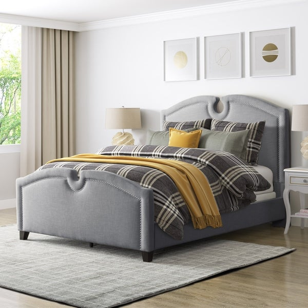 CorLiving Fairfield Fabric Curved Top Full/Double Bed