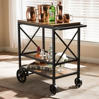 Pine Canopy Rue Rustic Industrial Brown Wood and Black Metal Cart