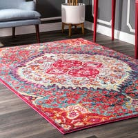 nuLoom Traditional Oriental-inspired Floral Heart Medallion Red/Multicolored Indoor Rectangular Rug (5'3 x 7'7)
