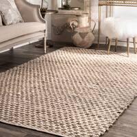 nuLoom Brown/Tan Natural Fiber Jute Textured Basketweave Handmade Area Rug (5' x 8')