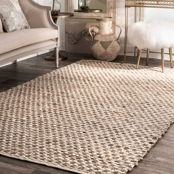 Organic Cotton Belgium Linen Bath Rug: Shop NuLoom Handmade Textured Basketweave Natural/Tan