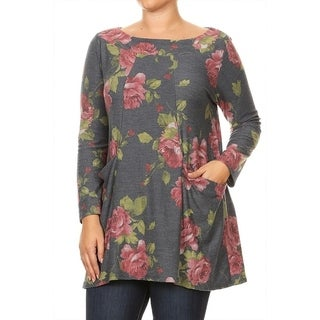 Women's Plus Size Floral Pattern Tunic