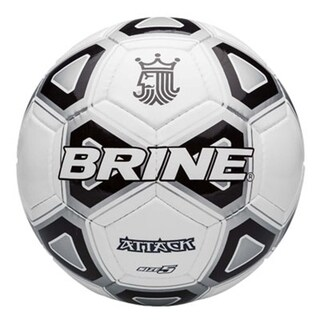 Brine SBATK94 Attack Black and White Synthetic Leather Soccer Ball, size 3