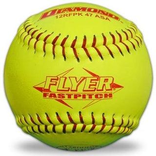 Diamond 12RFPK-47 Yellow 12-inch Red Stitch Leather Softballs ASA Approved (One Dozen)