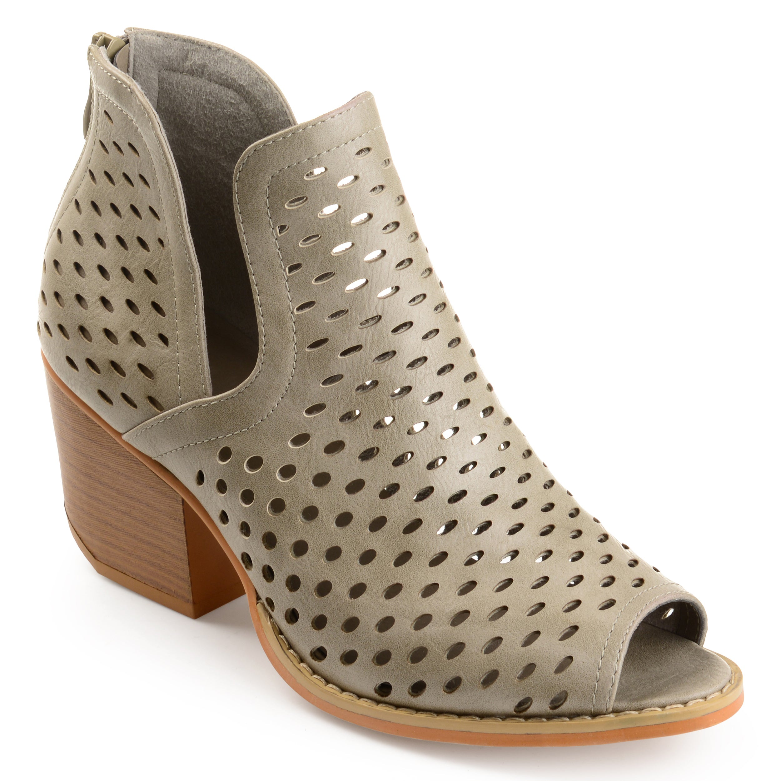 Journee Collection Women's 'Alaric' Perforated Side-slit Open-toe Booties  (More