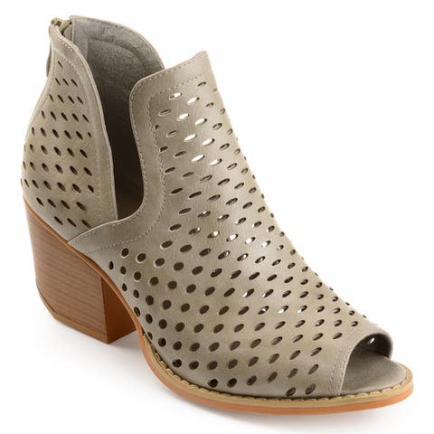 Journee Collection Women's 'Alaric' Perforated Side-slit Open-toe Booties