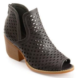 Journee Collection Women's 'Alaric' Perforated Side-slit Open-toe Booties (More options available)