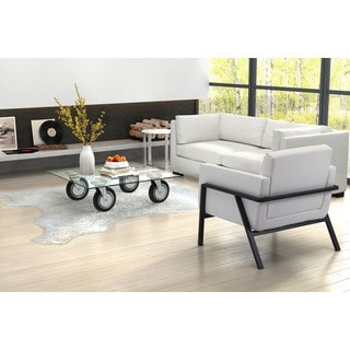 Belle Clear Glass/Steel 4-wheel Contemporary Coffee Table
