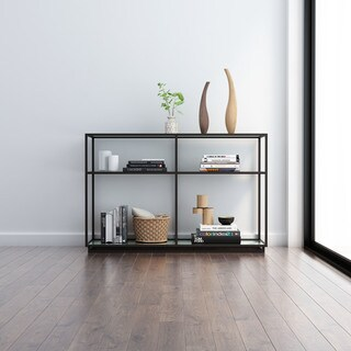 Kure Black Steel and Glass Console Table