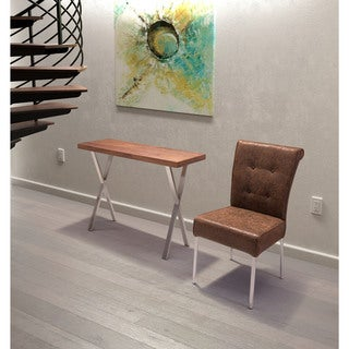 Renmen Contemporary Walnut Wood Stainless Steel Console Table