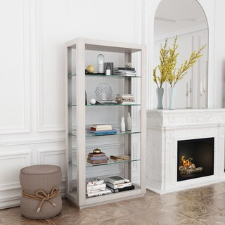 Beaumont Grey Finish Wood Glass 6-level Bookcase