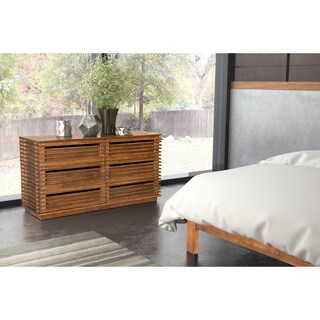 Linea Wood/ Veneer Walnut Finish 6-drawer Double Dresser