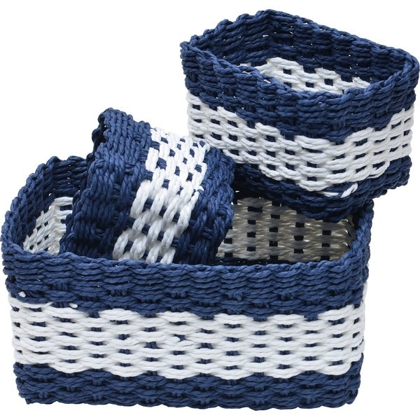 Paper Rope Storage Utilities Baskets Totes Set Of 3 White/Navy Blue