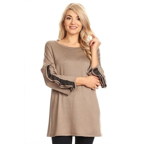 Women's Solid Color Ruffled Sleeve Tunic