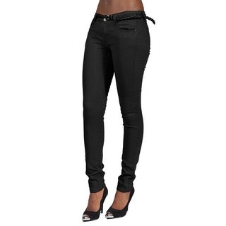C'est Toi 4 Pocket Braided Belted Solid Color Skinny Jeans (Black)