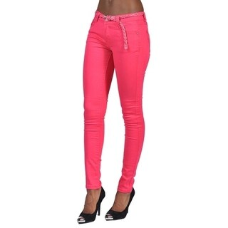 C'est Toi 4 Pocket Braided Belted Solid Color Skinny Jeans Fuschia (More options available)