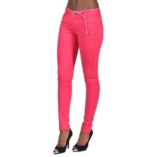 C'est Toi 4 Pocket Braided Belted Solid Color Skinny Jeans Fuschia