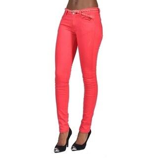 C'est Toi 4 Pocket Braided Belted Solid Color Skinny Jeans Coral