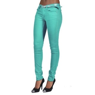 C'est Toi belted 5 Pocket Solid Colored Sage Jeans
