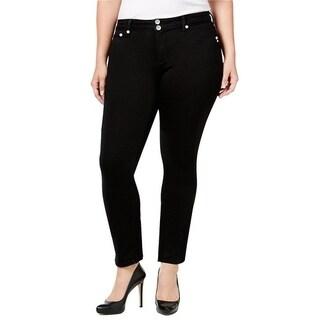 C'est Toi Black Stretch Denim Jeans with Embroidery on Back Pocket