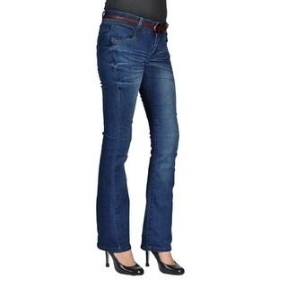 Womens Belted Bootcut Jeans Dark Wash