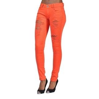 Womens Rhinestoned Ripped Skinny Jeans Orange